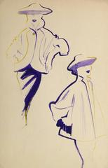 Vintage Fashion Sketch - Waist Length Purple Coat
