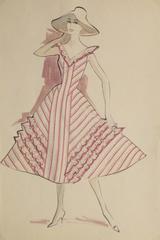 Vintage Fashion Sketch - Pink Summer Dress