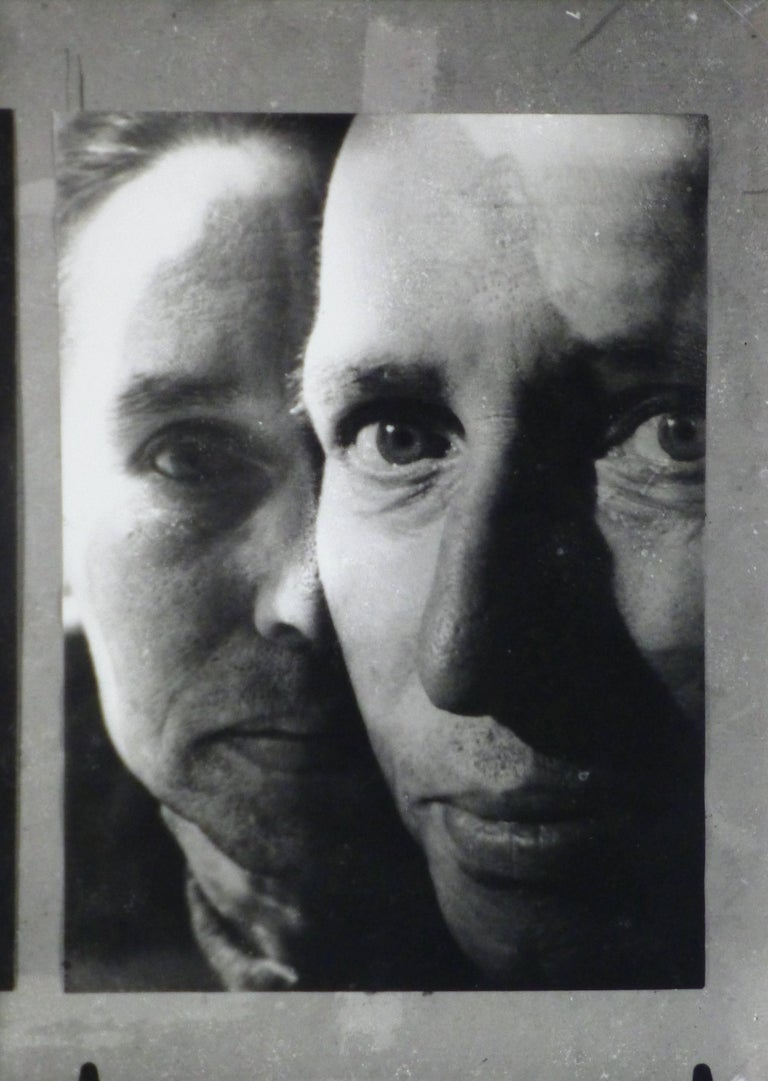 Silver gelatin photograph of a close up superimposed portraits by photographer Layet, circa 1950.   Original artwork on paper displayed on a white mat with a gold border. Archival plastic sleeve and Certificate of Authenticity included. Artwork,