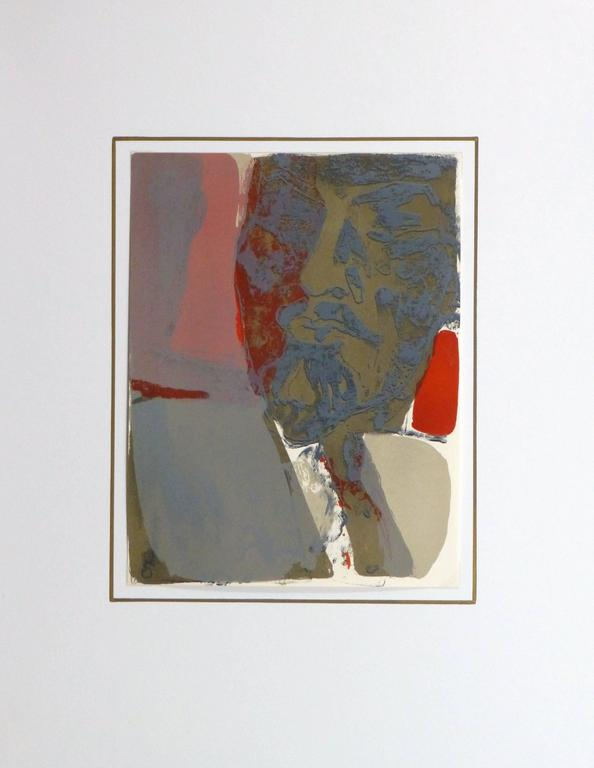 French lithograph of the abstracted iconic face of Lenin set in bold blocks of color by artist Paul Guiramand, circa 1965.  Original artwork on paper displayed on a white mat with a gold border. Archival plastic sleeve and Certificate of