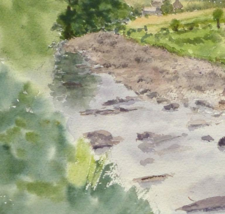 English Watercolor -  Countryside Winding Creek  - Art by M. Powell