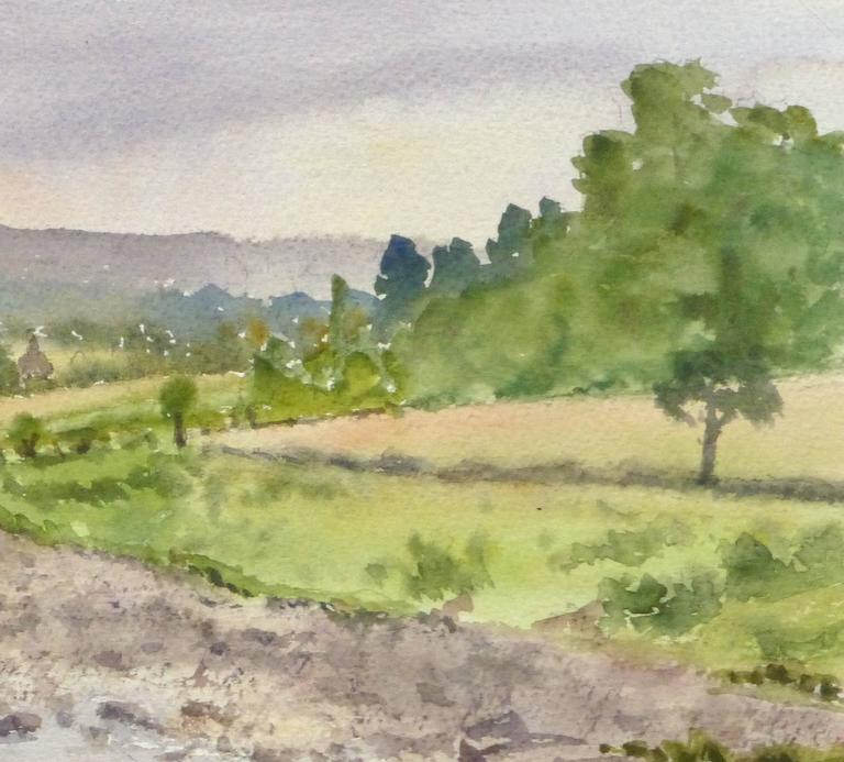 English Watercolor -  Countryside Winding Creek  - Brown Landscape Art by M. Powell
