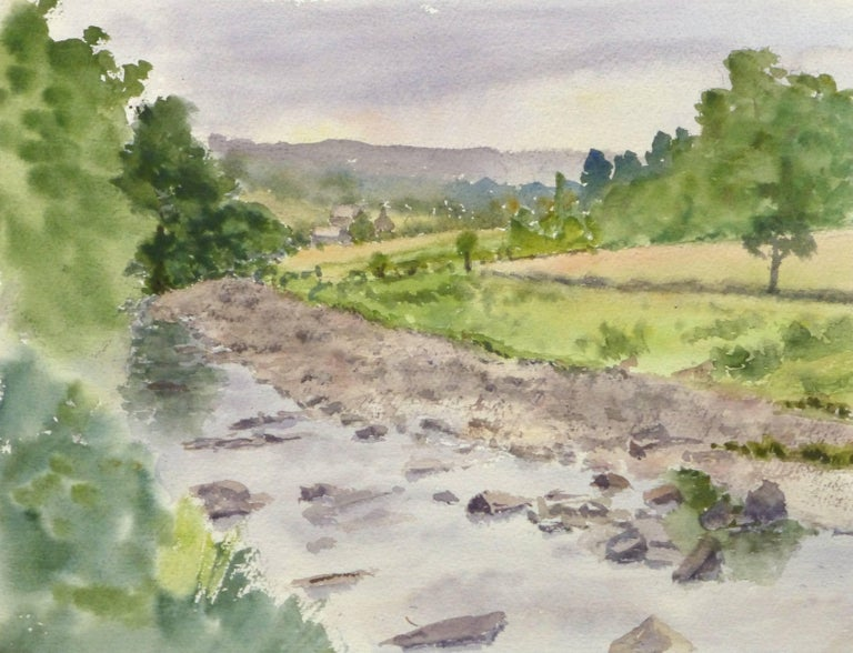 M. Powell Landscape Art - English Watercolor -  Countryside Winding Creek