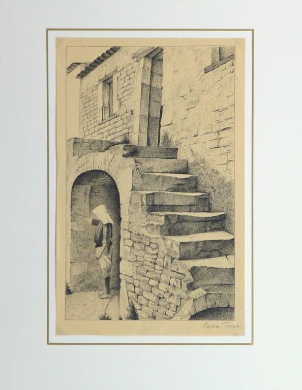 Vintage French lithograph of a rustic stone building and stairway with a figure in the shade of an alcove by artist Andre Trost, circa 1960. Signed lower right.   Original artwork on paper displayed on a white mat with a gold border. Archival