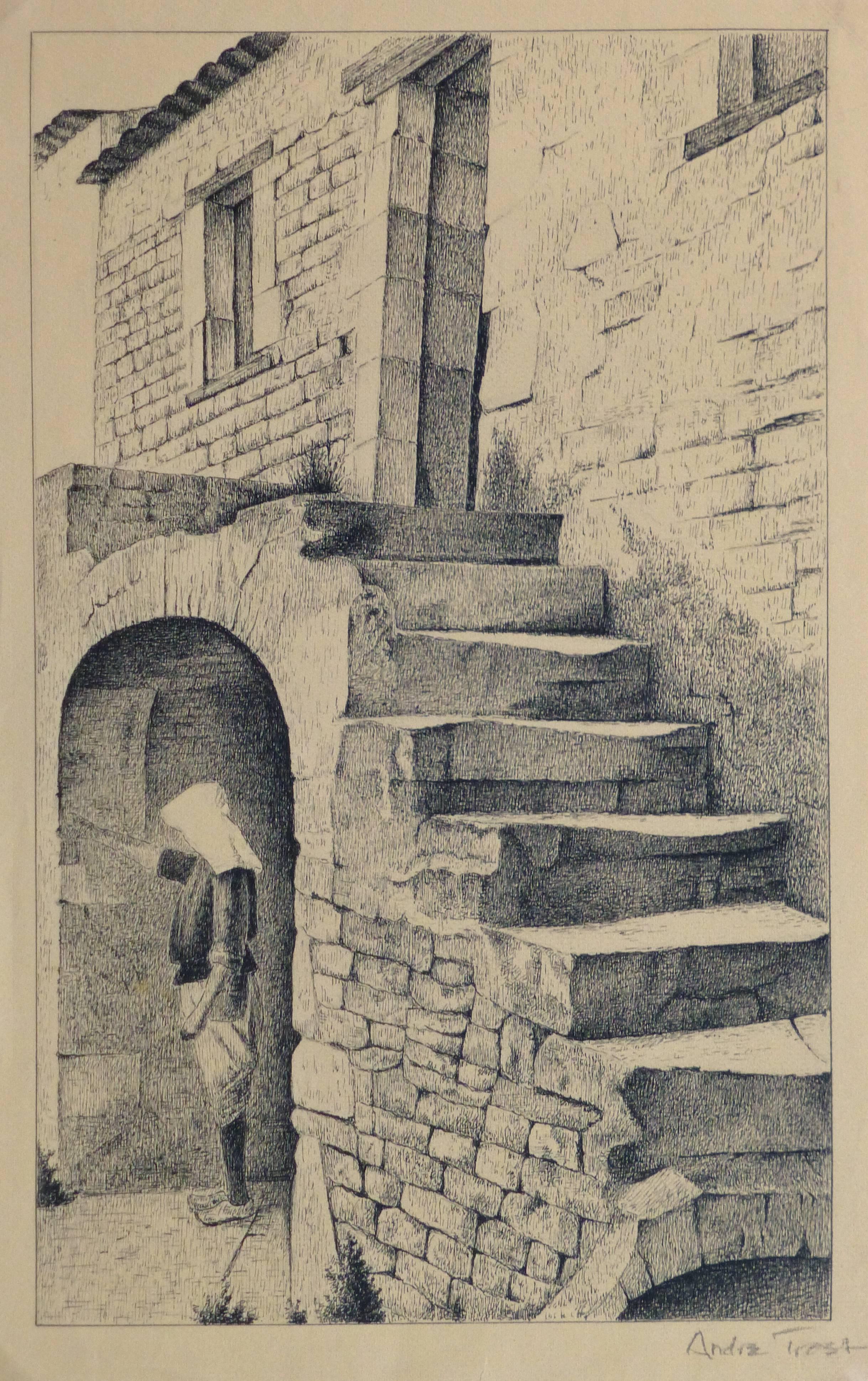 Vintage French Lithograph - Village Scene