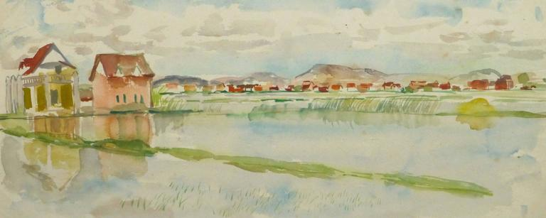 French Watercolor - Rice Fields