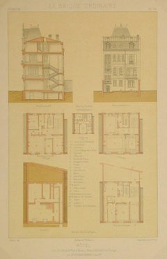 French Antique Lithograph - Hotel Plans