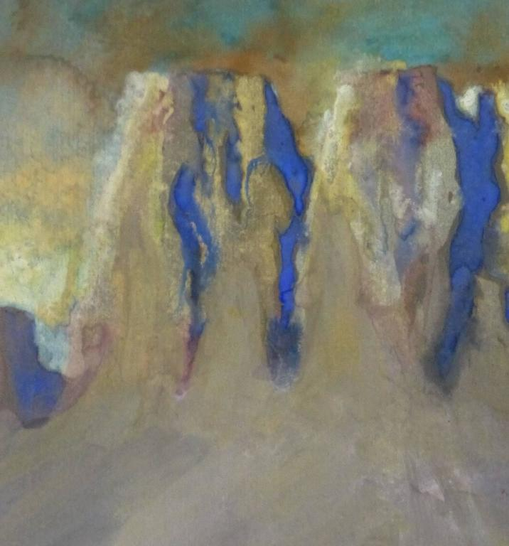 Desert Landscape Painting - Gray Abstract Painting by Unknown