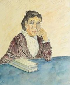 French Watercolor Portrait - Lady in Deep Thought
