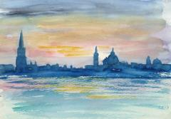 French Watercolor - Twilight Skyline