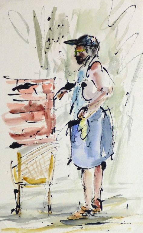 Watercolor & ink Portrait - The Gardner