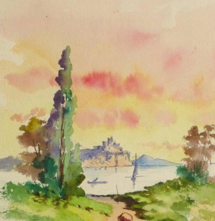 Watercolor Landscape - Evening Stroll - Beige Landscape Art by Unknown