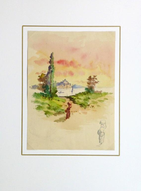 Dreamy watercolor landscape of a figure heading to the shore to fetch water under a dazzling sky, circa 1910.  Original artwork on paper displayed on a white mat with a gold border. Archival plastic sleeve and Certificate of Authenticity included.