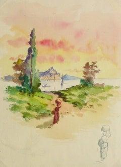 Watercolor Landscape - Evening Stroll