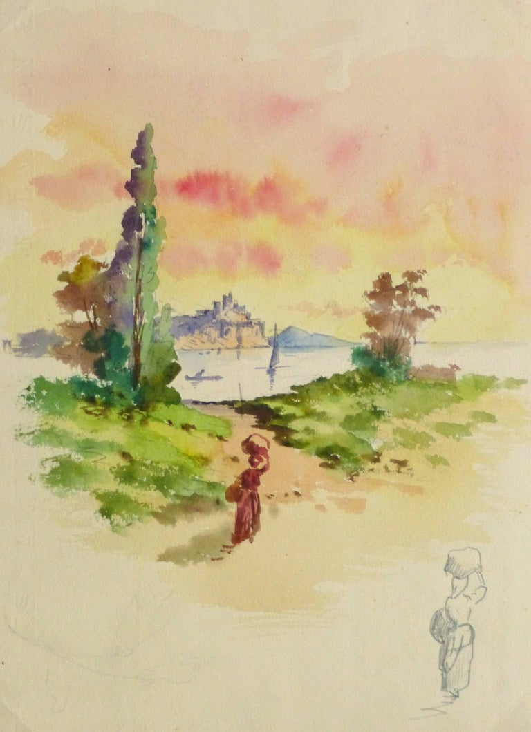 Unknown Landscape Art - Watercolor Landscape - Evening Stroll
