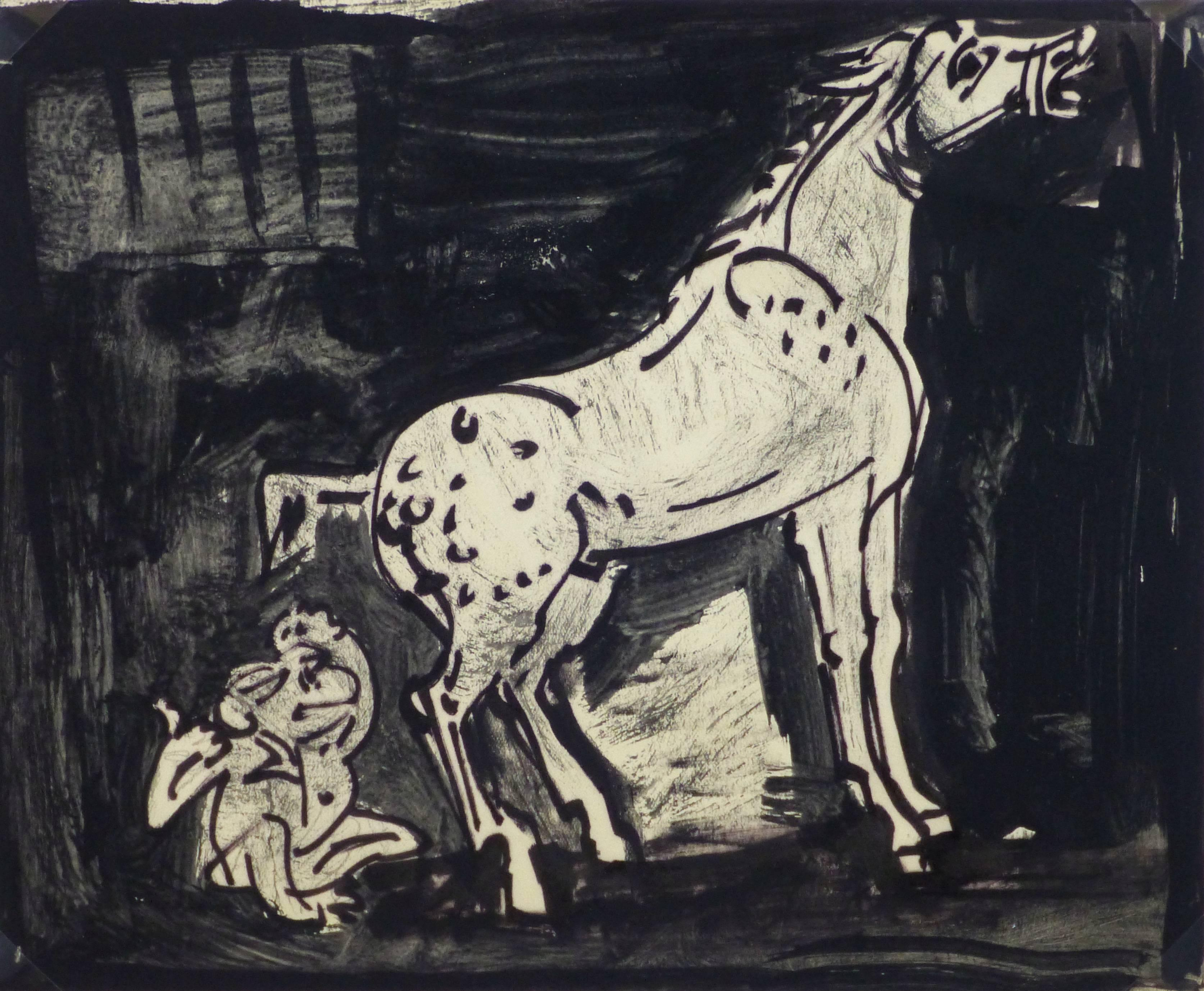 Ink Drawing - Startled in the Stall