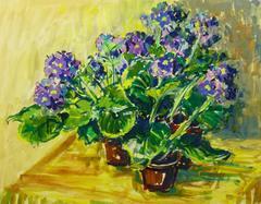 Acrylic Still Life - Violet Blooms