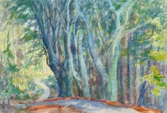 French Watercolor - Charming Path of Enchantment through the Trees