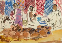 French Watercolor - Village Vendors at the Outdoor Market