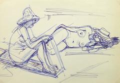 Ink Drawing - Sun Bathers