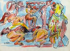 Colorful Ink & Pencil Drawing - Nude Uninhibited Gathering