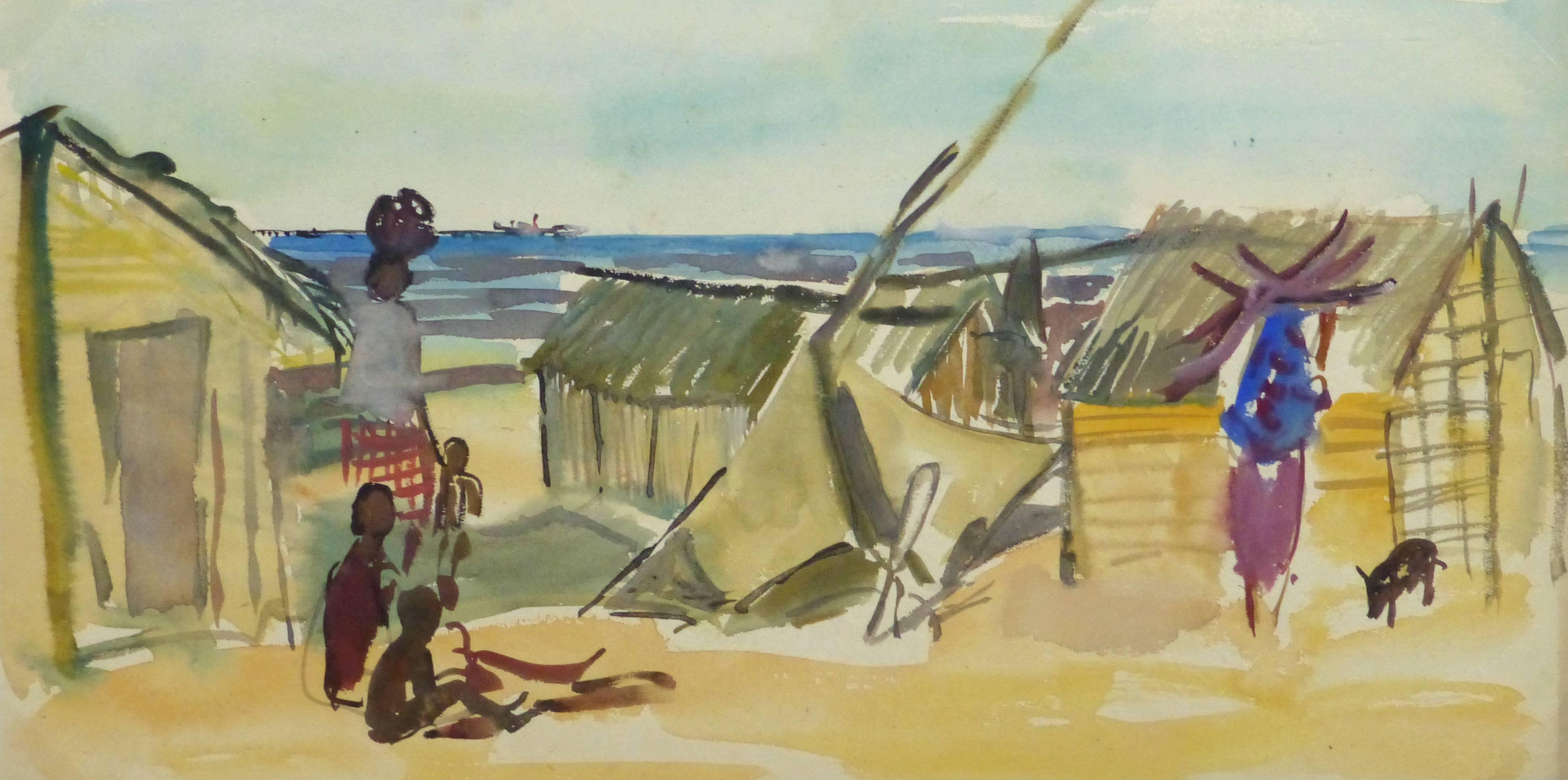 French Watercolor - Seaside Village