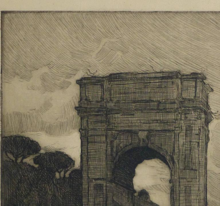 Etching - Regal Remains - Brown Landscape Print by Unknown