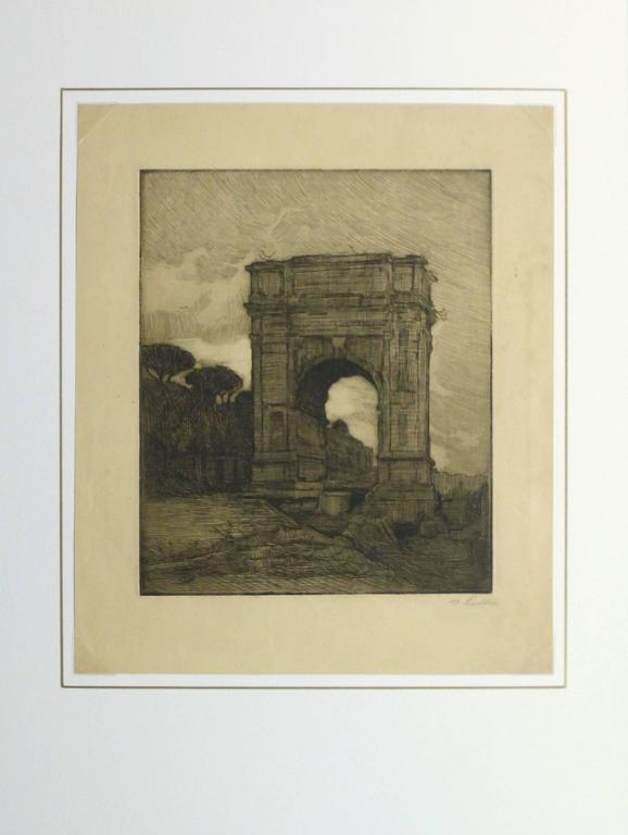 Crisp black and white etching of an imposing arch towering from the remains of an old city by M. Ledda, circa 1920. Signed lower right.   Original artwork on paper displayed on a white mat with a gold border. Archival plastic sleeve and Certificate