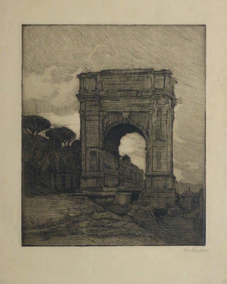 Unknown Landscape Print - Etching - Regal Remains