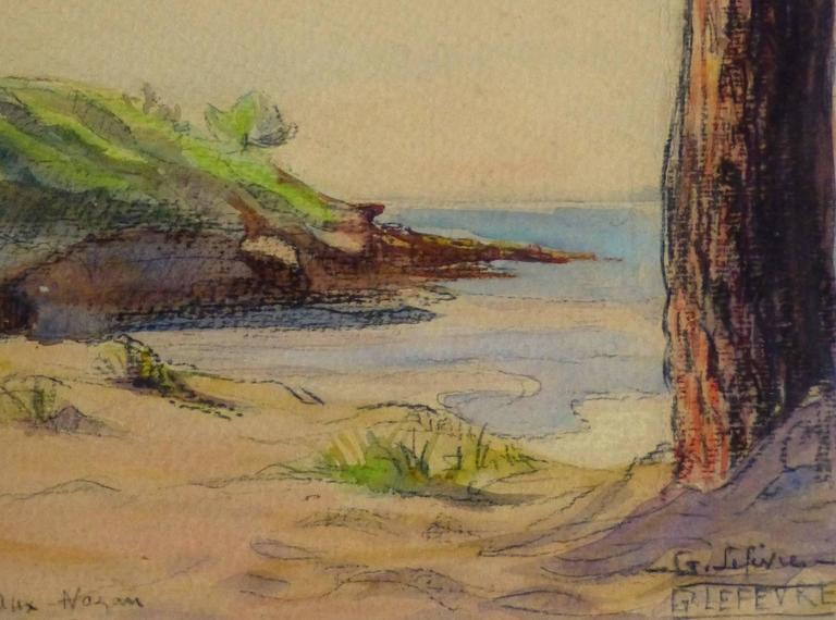 Watercolor & Charcoal - Pine Cove - Brown Landscape Art by Unknown