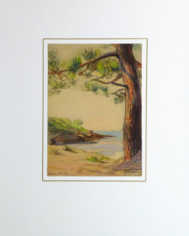 Serene watercolor and charcoal painting of a small inlet framed by a handsome pine tree by G. Lefèvre, 1925. Signed lower right.  Original artwork on paper displayed on a white mat with a gold border. Mat fits a standard-size frame. Archival plastic