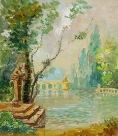 Tempera Landscape - Ornamental Pond