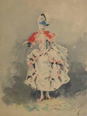 French Watercolor - Masquerade Portrait