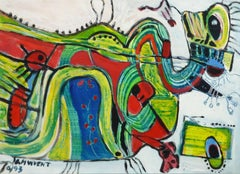 Vibrant Acrylic French Abstract - Whimsical Creature