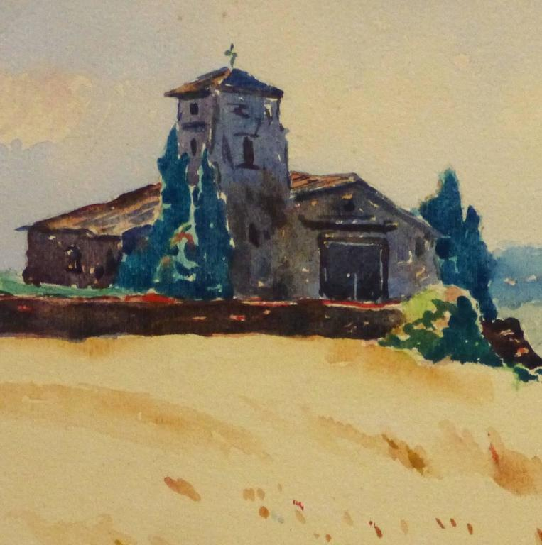 French Watercolor - Bucolic Church - Beige Landscape Art by Unknown