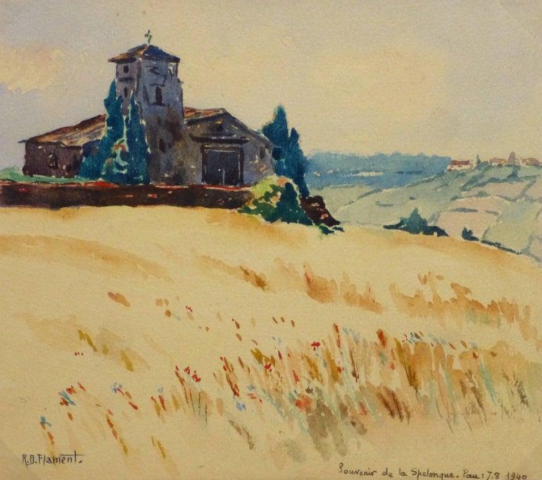 Unknown Landscape Art - French Watercolor - Bucolic Church