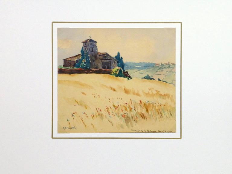 Warmly hued watercolor landscape of a old church perched atop a rural hillside by French artist R.D. Flament, 1940. Signed lower left and titled and dated lower right.   Original artwork on paper displayed on a white mat with a gold border. Archival