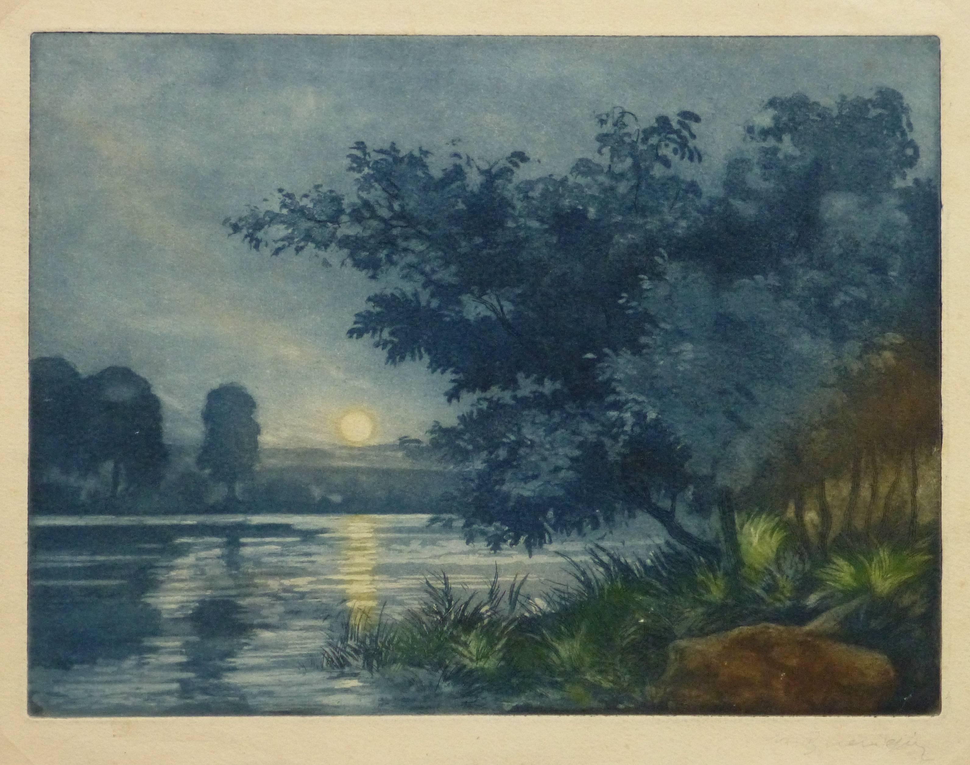 French Aquatint - Sunset Lake