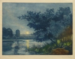 French Aquatint - Sunset Lake