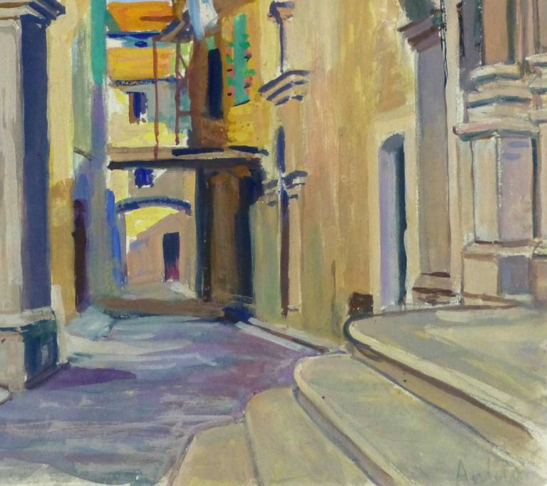 French Landscape - Old City Streets - Painting by Unknown