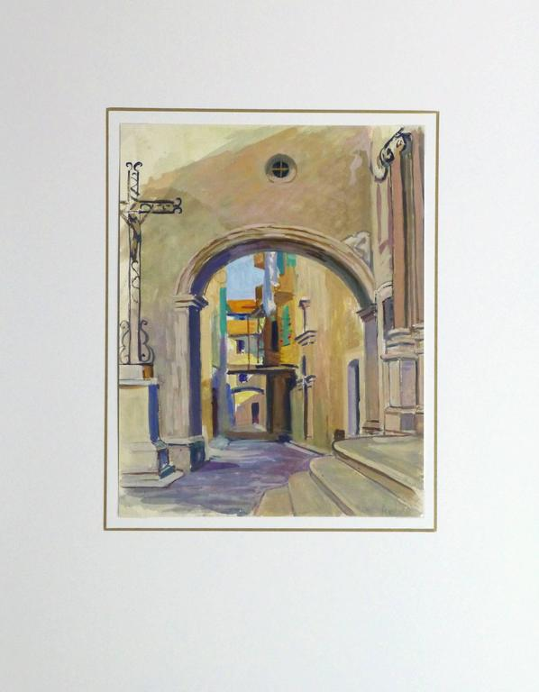 French gouache and tempera painting of old world city streets framed by a archway, circa 1920. Signed lower right. 