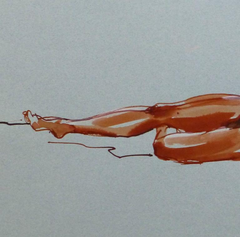 French Ink Wash - Crimson Nude - Painting by Unknown