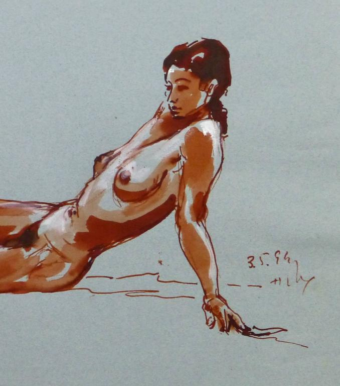 French Ink Wash - Crimson Nude - Gray Nude Painting by Unknown