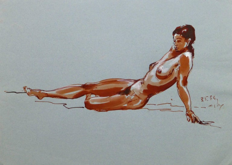 Unknown Nude Painting - French Ink Wash - Crimson Nude