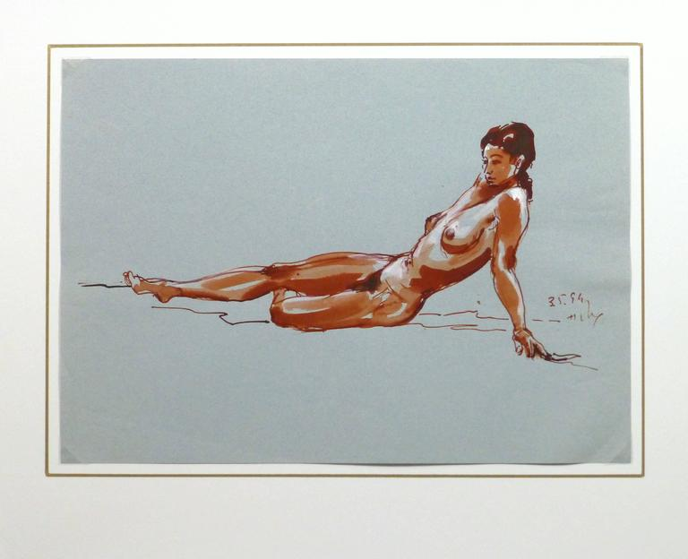 Striking ink wash of a reclining female nude in crimson hues against a light blue background, 1994. Signed and date lower right.  Original artwork on paper displayed on a white mat with a gold border. Archival plastic sleeve and Certificate of