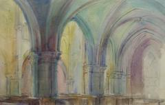 French Watercolor - Cathedral Interior