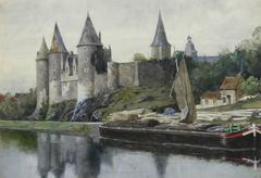 French Watercolor - Waterfront Castle