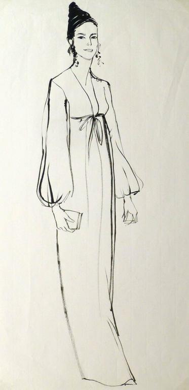 French Ink Sketch - Portrait of Elegance
