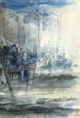French Watercolor -  Sunday Diners