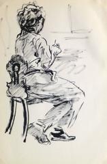French Pen & Ink - Artist Portrait